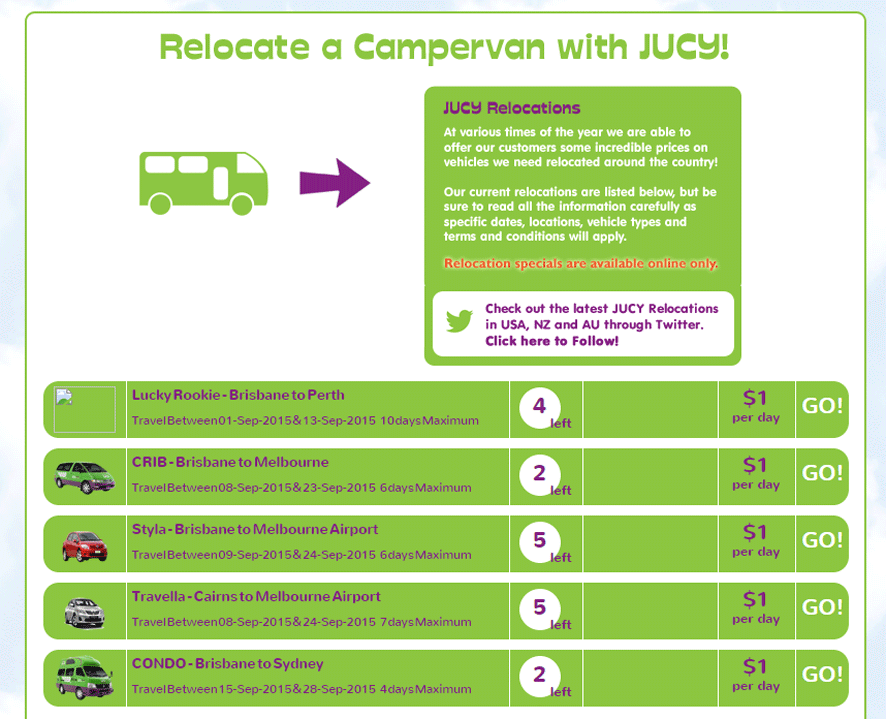 Jucy rentals campervan relocation