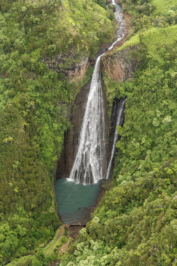 Manawaiopuna waterfall from Jurassic Park Movie
