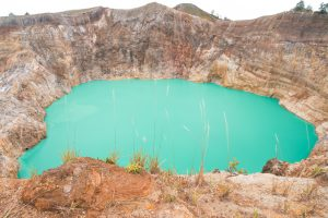 Emerald lake at Kelimutu crater