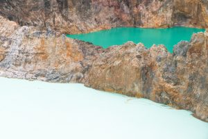 Kelimutu crater lakes, shades of green