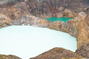 Blue and green lakes at the Kelimutu crater