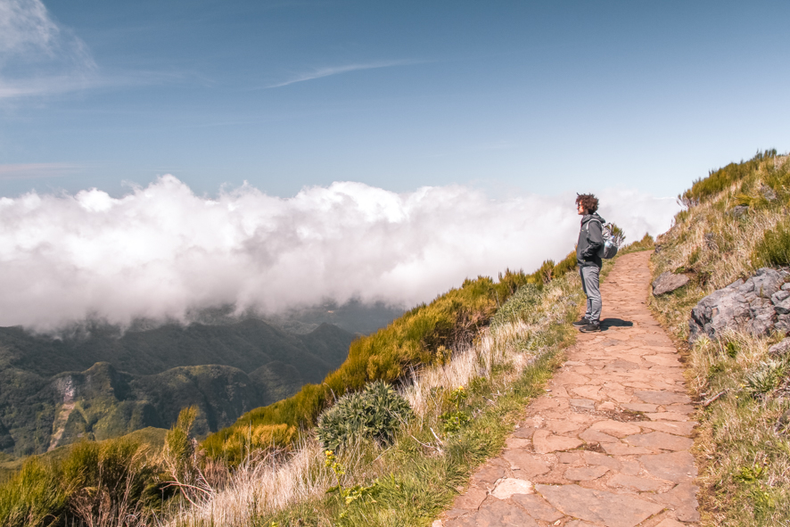 View above the clouds on Achada do Teixeira trail