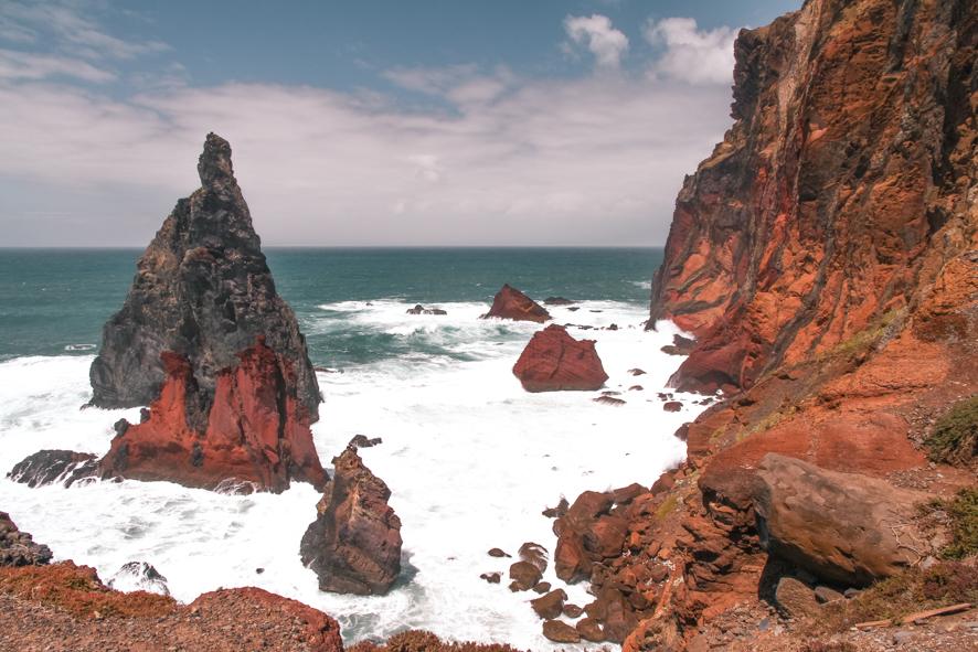 Colorful cliffs on the trail of Ponta de São Lourenço